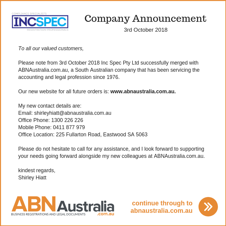 IncSpec Announcement